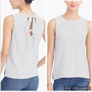 J. Crew Striped Tie Back Cotton Tank Top Size Med